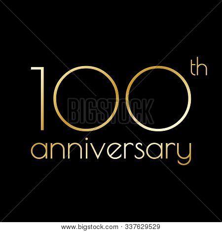 100th Anniversary Icon. 100 Years Celebrating And Birthday Golden Logo. Vector Illustration.