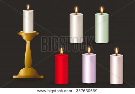 Candles Flame, Candles Realistic, Candles Vector, Candle Light, . Candle Light Border Design. Melted