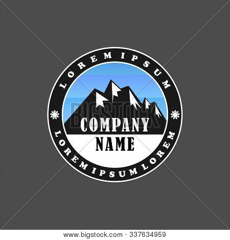 Himalayan Logo Design Template, Mountain, Salt, Emblem Logo Concept, Climbing, Ellipse, Rounded, Bla