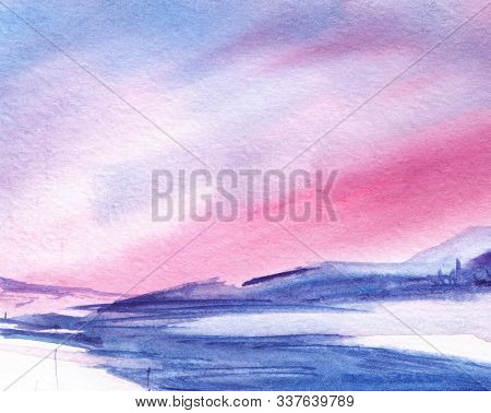 Abstract Watercolor Background. Simple Winter Romantic Landscape With Mountains. Gradient From White