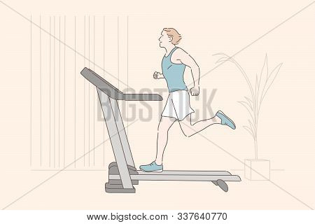 Sports Workout, Endurance Home Training, Physical Exercise Concept. Young Sportsman Jogging On Tread