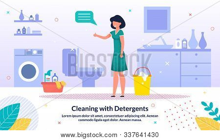 Detergents For Home Bathroom Cleaning Trendy Vector Advertising Banner, Promo Poster Template. Happy