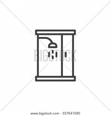 Shower Cabin Line Icon. Linear Style Sign For Mobile Concept And Web Design. Bathroom Glass Cabin Ou
