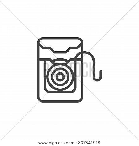 Dental Floss Box Line Icon. Linear Style Sign For Mobile Concept And Web Design. Plastic Container W