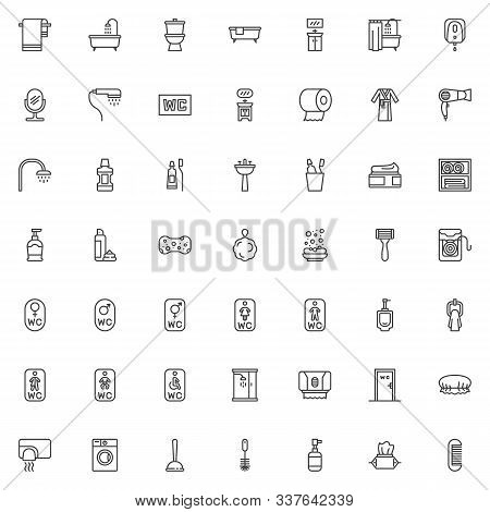Bathroom Accessories Icons Set. Linear Style Symbols Collection, Outline Signs Pack. Vector Graphics