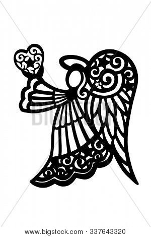 Angel silhouette holding a heart, isolated on white