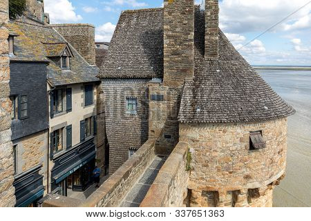 Le Mont-saint-michel, France - September 13, 2018: The Ramparts And One Of The Turrets At Mont Saint