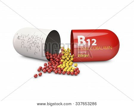 3d Rendering Of Vitamin B12 Pills Over White Background. Concept Of Dietary Supplements
