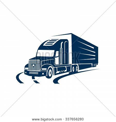 On The Road Truck Logo Design Vector. Heavy Transportation Logotype Sign Illustration