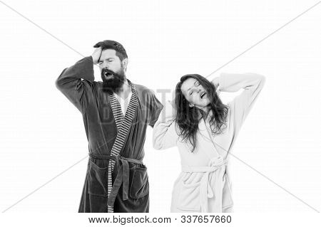 Insomnia Effects. Sleepy People White Background. Couple In Love Bathrobes. Sleep Disorders. Drowsy