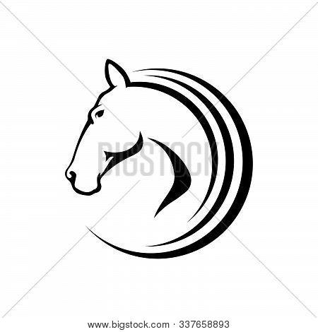 Black Stallion Horse Head Logo Vector Symbol. The Silhoutte Of Black Horse Illustration Design
