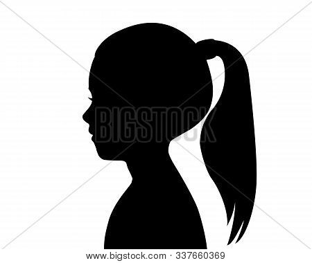 Black Silhouette Of A Girl's Head. Child Profile. Long Hair Pulled In A Ponytail. Female Silhouette.