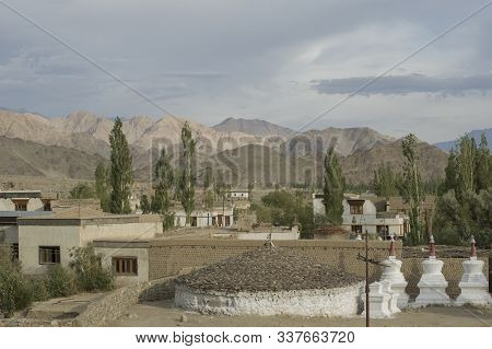 Leh, Jammu And Kashmir, India - July 25, 2011: Thiksey, A Small Village That Surrounds The Thiksey M