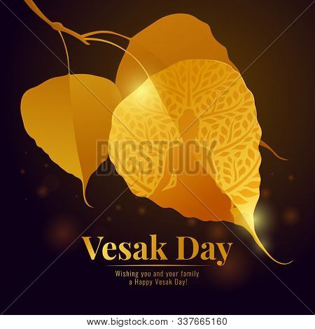 Vesak Day With Gold Buddha Sign In Bodhi Leaf Branch And Bokeh Light On Fullmoon Night Background Ve