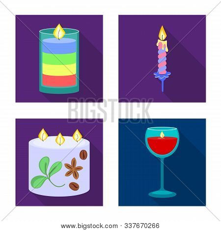 Vector Design Of Candlelight And Decoration Icon. Set Of Candlelight And Flame Vector Icon For Stock