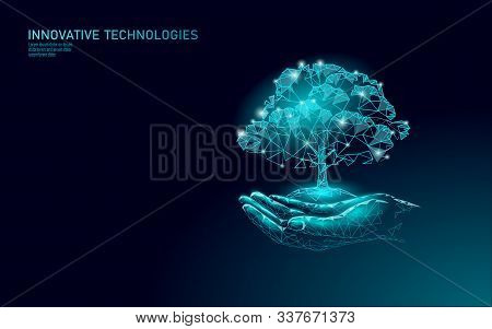 Hands Holding Plant Tree Ecological Abstract Concept. 3d Render Planting Soil Seedling Leaves. Save
