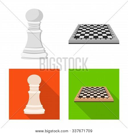 Isolated Object Of Checkmate And Thin Logo. Set Of Checkmate And Target Stock Symbol For Web.