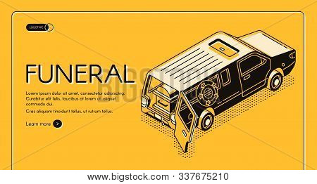 Funeral Service Isometric Web Banner, Landing Page Template. Hearse Vehicle With Wreath, Opened Rear