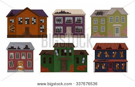 Old Abandoned Houses Collection, Facades Of Cottages With Broken Windows And Roof Vector Illustratio