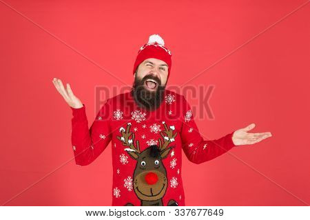 I Do Not Care. Buy Festive Clothing. Sweater With Deer. Hipster Cheerful Bearded Man Wear Winter Swe