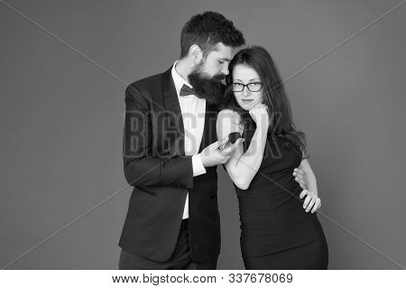 Will You Marry Me. Bearded Man Make Marriage Proposal To Sexy Woman. Hipster Make Wedding Proposal T