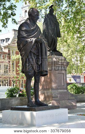 London,  Uk, May 13, 2019 - Statue Of Mahatma Gandhi, Parliament Square In London, Uk