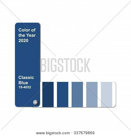 Color Of The Year 2020, Classic Blue, Trend Colour Palette Sample Swatch Book Guide, Stock Vector Il
