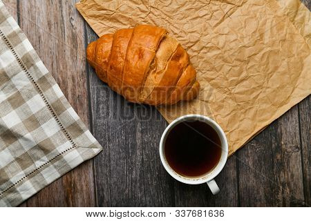 Breakfast With Croissant. The Beginning Of The Morning. Fresh French Croissant. Coffee Cup And Fresh