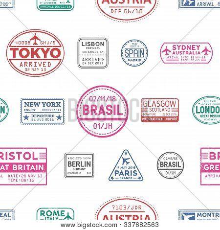 Visa Stamps Vector Seamless Pattern. Lisbon, Tokyo, Glasgow, Brasil, Sydney, New York Colorful Stamp