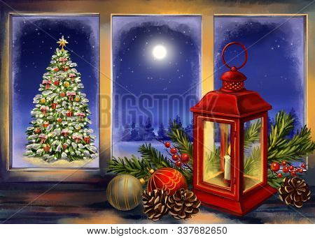 Christmas Eve, Red Vintage Lantern With A Burning Candle With Christmas Toys On Wood Texture Backgro
