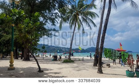 Beautiful And Peaceful View Of Patong Beach In The Morning In Phuket District, Thailand 21/11/2019