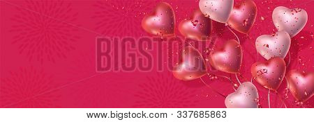 Happy Valentines Day Banner With 3d Red And Pink Heart-shaped Gel Balloons, Confetti. Vector Horizon