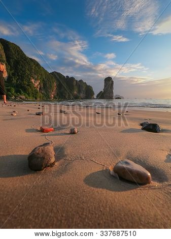 Beautiful View Of Peaceful And Relaxing Pai Plong Beach, In Ao Nang District, Krabi, Thailand