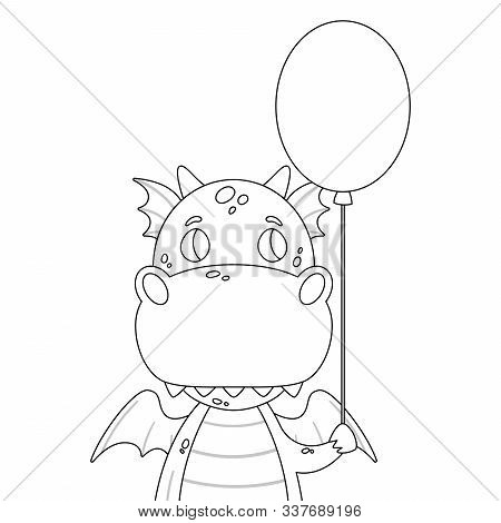 Cute Dragon With A Baloon. Festive Toothy Smiling Green Funny Dinosaur With Wings. Page For Coloring
