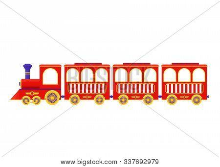 Train. Vector. Red Locomotive Icon. Amusement Park Vintage Attraction, Isolated. Circus, Fun Fair Ca