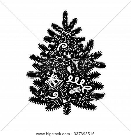 Ute Cartoon Silhouette Of Christmas Tree In Doodle Style Isolated On White. Black Stylized Element F
