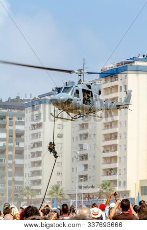 Cadiz, Spain-sep 09:  Helicopter Augusta Bell 212 Taking Part In An Exhibition On The 5th Airshow Of