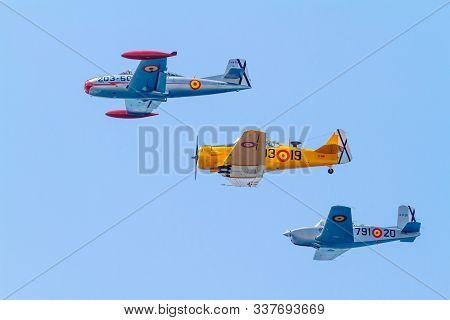 Cadiz, Spain-sep 08:  Formation Of Three Aircraft Of The Fio Taking Part In An Exhibition On The 5th