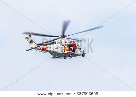 Cadiz, Spain-sep 09:  Helicopter Aw139sar Helimer Of Maritime Rescue Taking Part In An Exhibition On