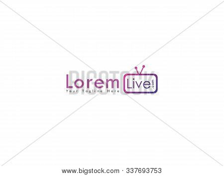 Online Tv Channel Logo Design Template, Live Streaming Logo Concept, Pinky, Purple, Violet, Rounded,