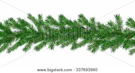 Seamless Pattern Christmas Tree Garland. Christmas Holiday Horizontal Background. Great For New Year