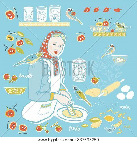 Retro Cozy Kitchen Utensil Vector Ilustration Set. Icon Set. Colorful Vintage Kitchen Utensil Folk A