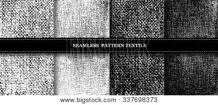 Collection, Set Of Rabid Patterns. Modern Textiles, Black And White Texture. Monochrome, Old, Worn P