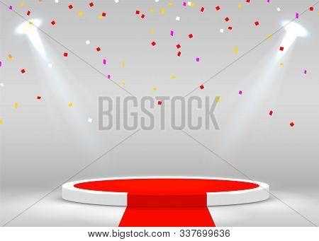 Stage Podium With Confetti Scene For Award Ceremony Illuminated With Spotlight. Award Ceremony Conce