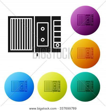 Black Music Tape Player Icon Isolated On White Background. Portable Music Device. Set Icons Colorful