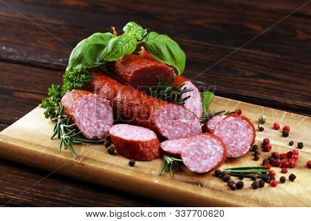 Sausage Slices, Smoked Meat Product (tasty Snack Salami) Menu Concept. Food Background With Cracow S