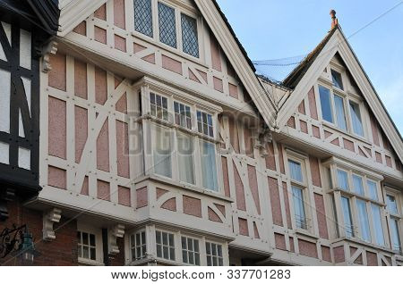 Half-timbered Gables Of Historic Houses In A Street In The City Of Canterbury, England