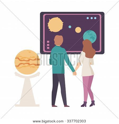 Young Couple Discussing Astronomical Facts And Notions In Planetarium Vector Illustration