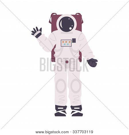Atrificial Costume Of Astronaut Installation In Planetarium Vector Illustration