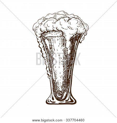Vector Hand Drawn Tall Beer Glass Full Of Cool Beer With Foam. Beautiful Vintage Beer Mug Or Pilsner